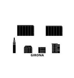 spain girona flat travel skyline set spain vector image