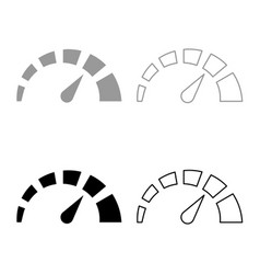 speedometer icon set grey black color vector image