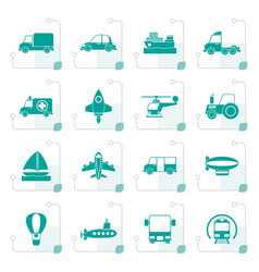 Stylized different kind of transportation icons vector