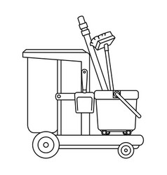 Toilet trolley with broom and dustpan vector