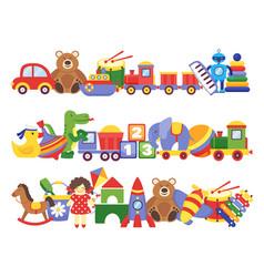 Toys pile groups children plastic game kids vector