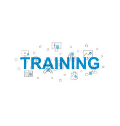 Training banner word with line icon vector
