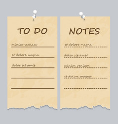 vintage ripped pages for to do list and notes vector image