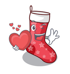 With heart cartoon christmas sock homemade fur red vector