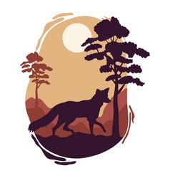 Wolf walking wild fauna silhouette scene vector