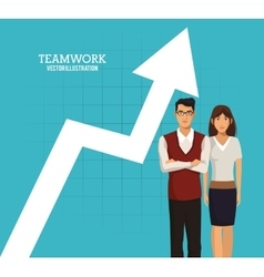 Woman and man teamwork arrow chart business vector