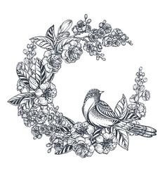 Wreath doodle hand drawn magnolia vector