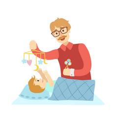 young father putting baby to sleep in bed vector image