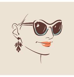 beautiful woman wearing sunglasses vector image
