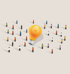crowdfunding crowd-sourcing big ides bulb vector image vector image