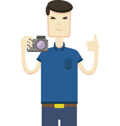 Picture of asian man with a camera vector