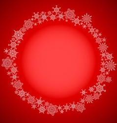 Red christmas frame with snowflakes circle vector image vector image
