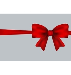Red gift bow of ribbon isolated on white vector image vector image