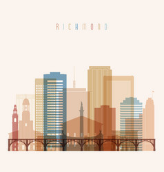 richmond state virginia skyline detailed vector image