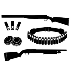 Set of shotgun and hunting equipment vector image vector image