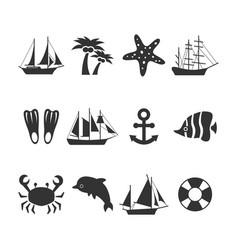 summer sea vacation icons set vector image vector image