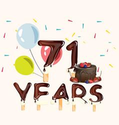 71 years happy birthday card vector image vector image