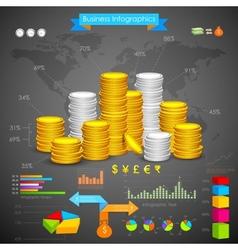 Coin Bar graph Business Infograph vector image vector image