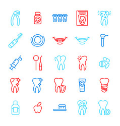 dental care tooth color thin line icon set vector image