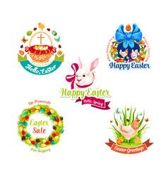 easter holiday label set for sale tag design vector image