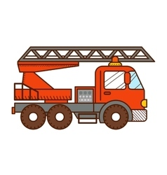 Fire truck isolated on white background vector image vector image