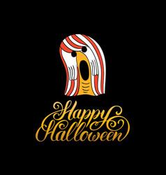 Ghost with happy halloween vector