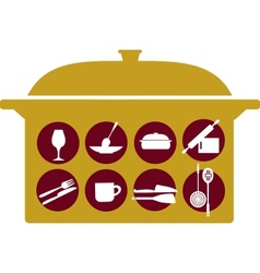 pot with kitchenware set vector image vector image