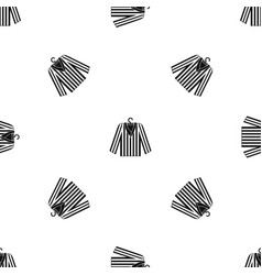 Striped pajama shirt pattern seamless black vector