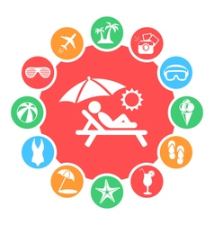 Summertime Circle with Summer Icons Isolated on vector image