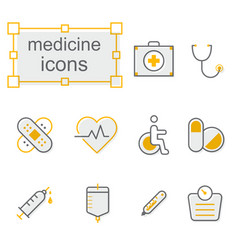 thin line icons set medicine vector image