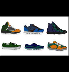 a set of shoes sport shoes eps 8 vector image
