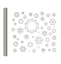 abstract silver ornament set vector image