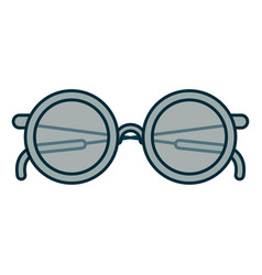 blue shading silhouette of glasses icon vector image