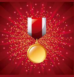 golden medal award winner prize ribbon starry vector image