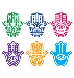 Hamsa hand Hand of Fatima - amulet protection vector image