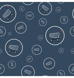 Seamless pattern - shopping cart vector image vector image