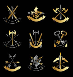 vintage weapon emblems set heraldic signs vector image vector image