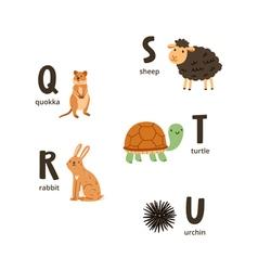Animal alphabet letters q to u vector image
