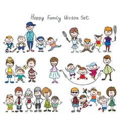 Doodle happy family sketch vector image