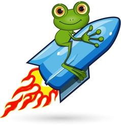 Frog on a Rocket vector image vector image