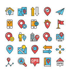 maps and navigation colored icons set 7 vector image