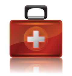 red first aid case vector image vector image