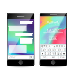 smartphone speech bubbles on phone screen vector image