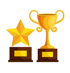 trophy cup and star award icon vector image vector image