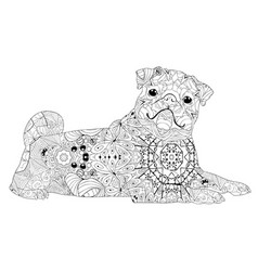zentangle stylized dog hand drawn lace vector image vector image