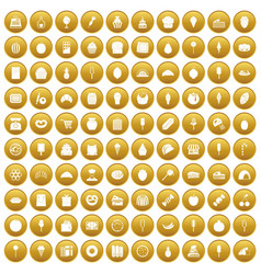 100 confectionery icons set gold vector