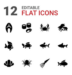 12 seafood icons vector