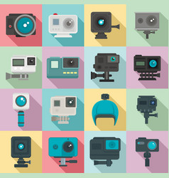 Action camera icons set flat style vector