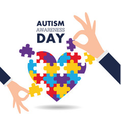 Autism awareness day support hands puzzles pieces vector