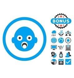 Baby Head Flat Icon with Bonus vector